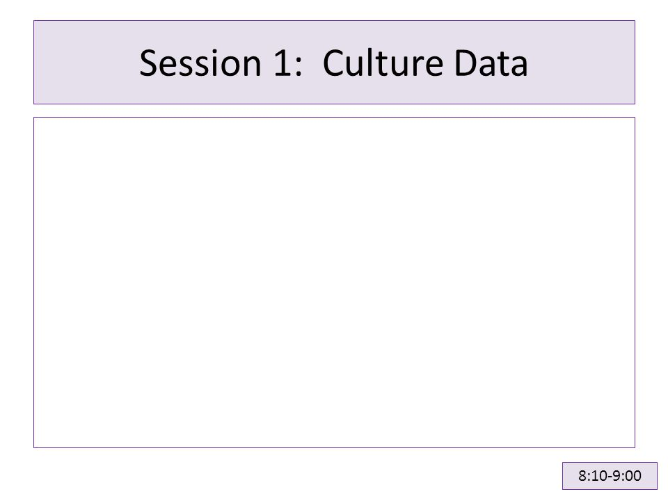 Session 1: Culture Data 8:10-9:00