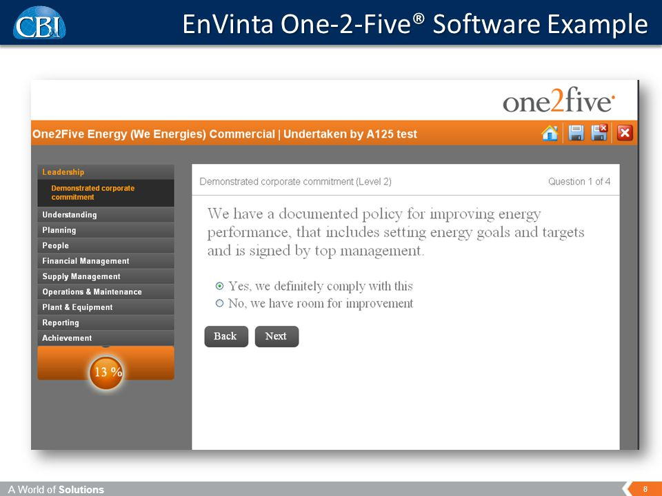 A World of Solutions 8 EnVinta One-2-Five® Software Example