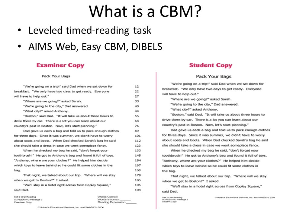 What is a CBM? Leveled timed-reading task AIMS Web, Easy CBM, DIBELS