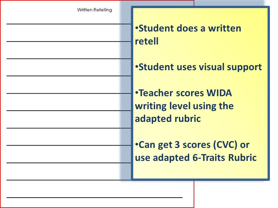 Student does a written retell Student uses visual support Teacher scores WIDA writing level using the adapted rubric Can get 3 scores (CVC) or use adapted 6-Traits Rubric