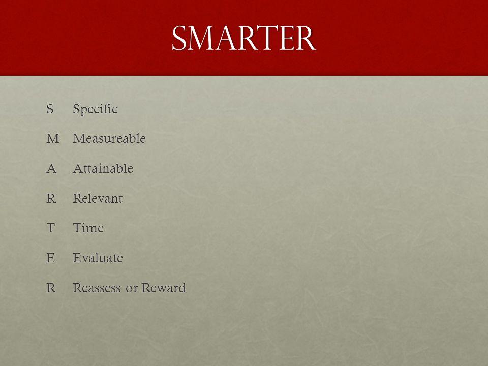 SMARTER SMARTERSpecificMeasureableAttainableRelevantTimeEvaluate Reassess or Reward