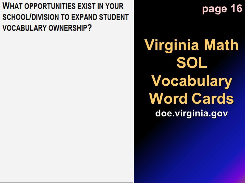 Virginia Math SOL Vocabulary Word Cards doe.virginia.gov page 16