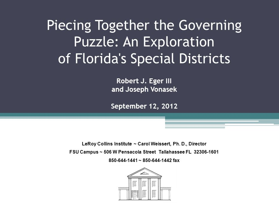 Governance in Florida is granted by the state to local and special district governments.