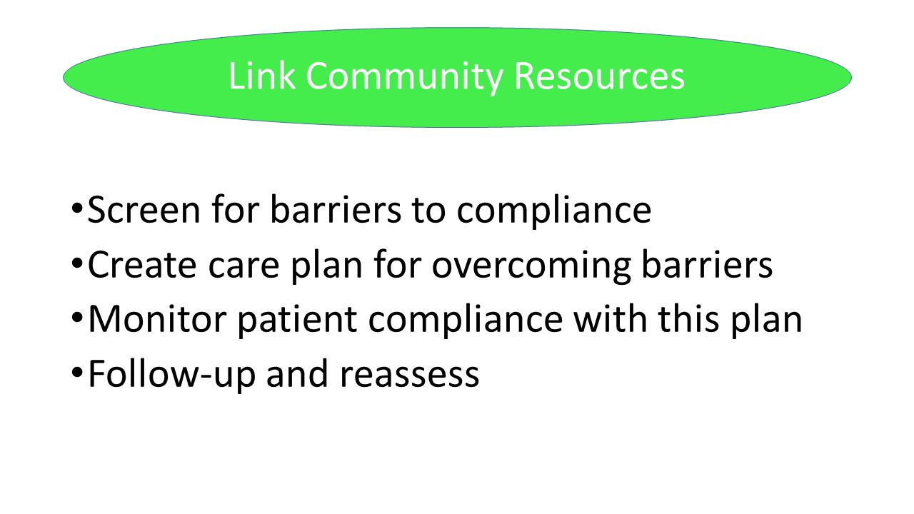 Screen for barriers to compliance Create care plan for overcoming barriers Monitor patient compliance with this plan Follow-up and reassess Link Commu