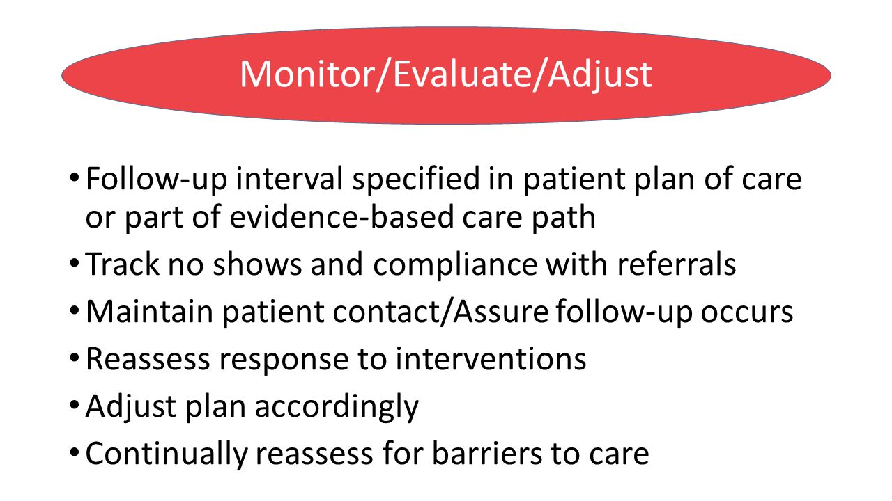 Follow-up interval specified in patient plan of care or part of evidence-based care path Track no shows and compliance with referrals Maintain patient