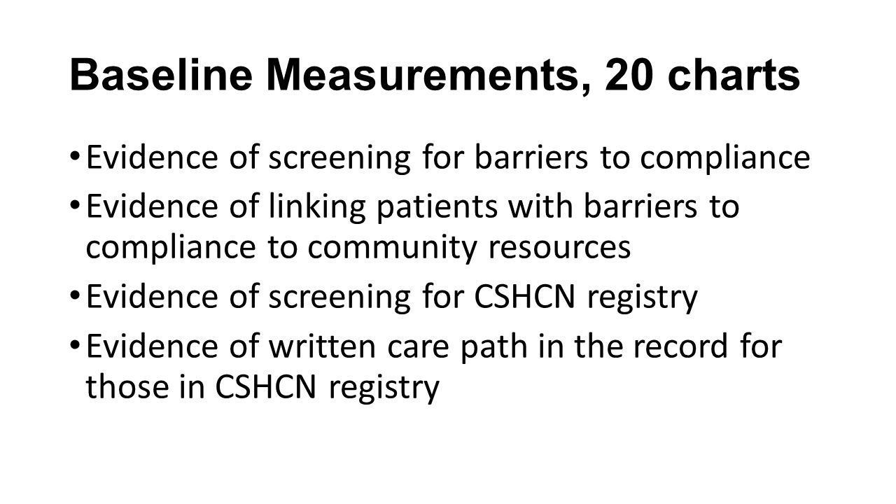 Baseline Measurements, 20 charts Evidence of screening for barriers to compliance Evidence of linking patients with barriers to compliance to communit