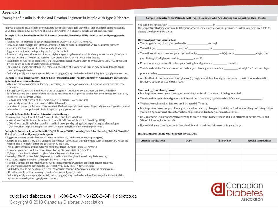 guidelines.diabetes.ca   1-800-BANTING (226-8464)   diabetes.ca Copyright © 2013 Canadian Diabetes Association