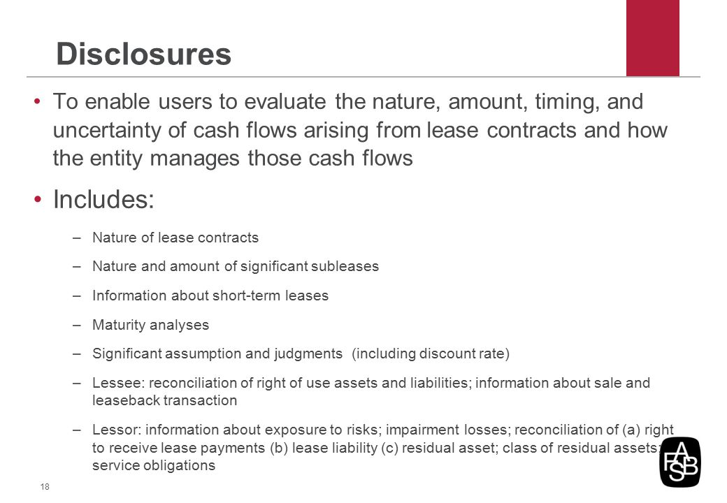 Disclosures To enable users to evaluate the nature, amount, timing, and uncertainty of cash flows arising from lease contracts and how the entity mana