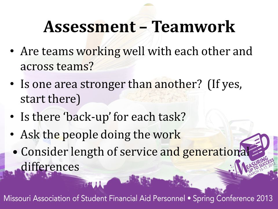 Assessment – Teamwork Are teams working well with each other and across teams.