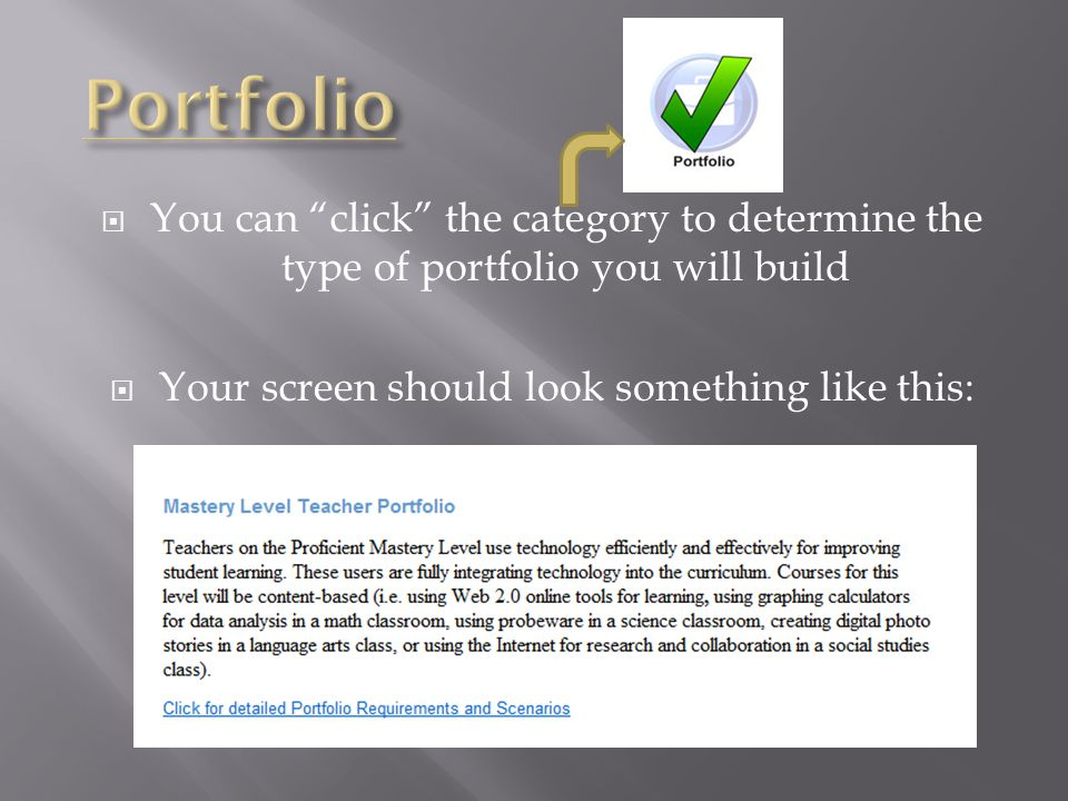  You can click the category to determine the type of portfolio you will build  Your screen should look something like this: