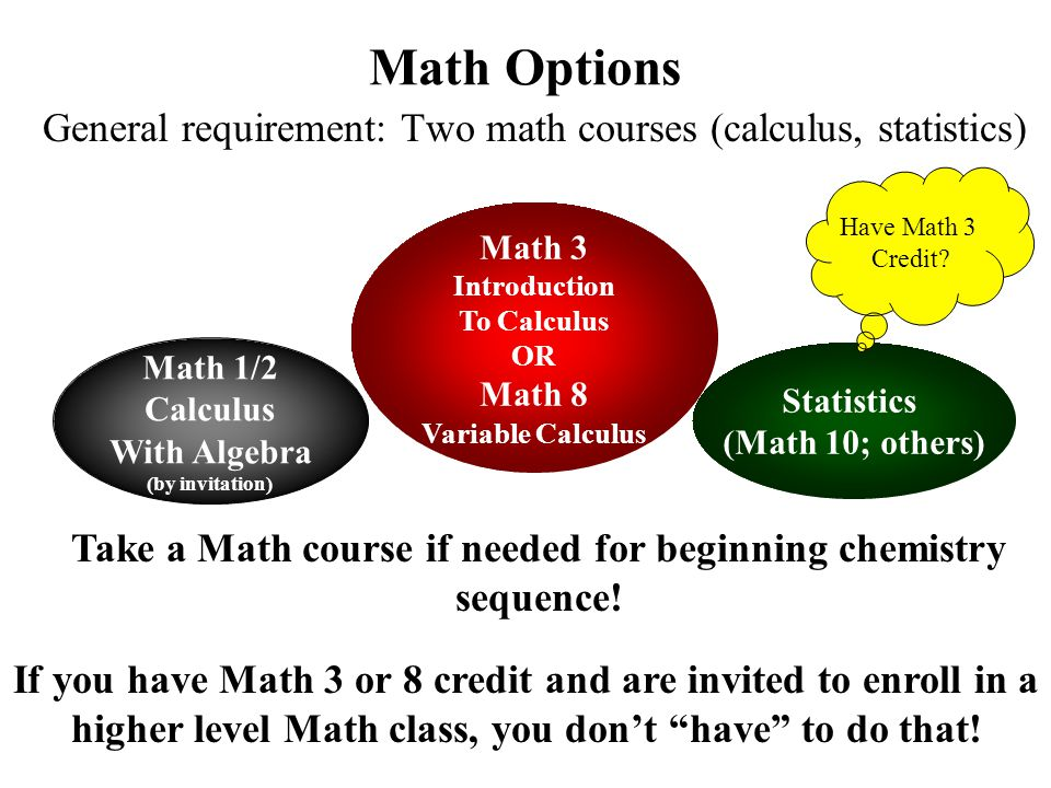 Math Options General requirement: Two math courses (calculus, statistics) Math 3 Introduction To Calculus OR Math 8 Variable Calculus Math 1/2 Calculu