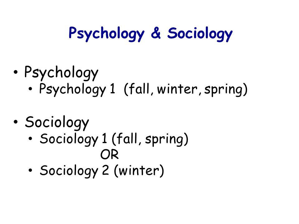 Psychology & Sociology Psychology Psychology 1 (fall, winter, spring) Sociology Sociology 1 (fall, spring) OR Sociology 2 (winter)