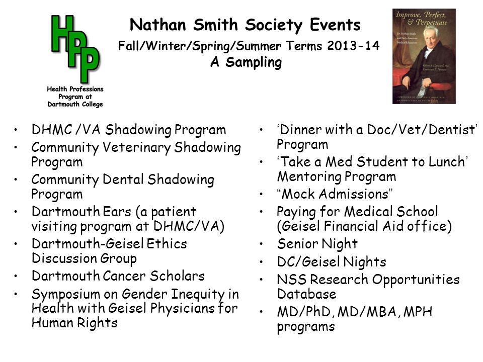 Nathan Smith Society Events Fall/Winter/Spring/Summer Terms 2013-14 A Sampling DHMC /VA Shadowing Program Community Veterinary Shadowing Program Commu