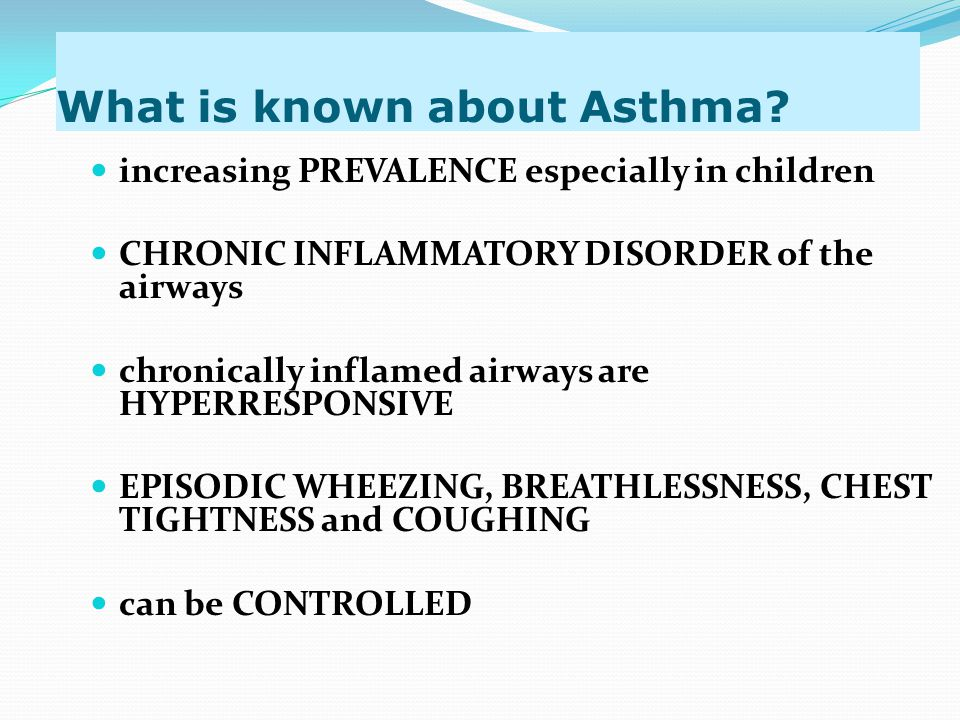 GINA ASTHMA GUIDELINES: (2002, 2006,2007) Management of Asthma Exacerbation in Acute Care Initial Assessment History, Physical Examination(auscultation, use of accessory muscles, HR, RR, PEF or FEV1, O2 saturation, ABG's if patient in extremis) Initial Treatment Oxygen to achieve O2 saturation ≥90% (95% in children) Inhaled rapid β2-agonist continuously for one hour Systemic GCS, if no immediate response, or if patient recently took Oral GCS, of if episode is severe SEDATION is CONTRAINDICATED in the treatment of an exacerbation Reassess after 1 hour : PE, PEF, O2 saturation & other tests as needed Criteria for MODERATE Episode: PEF 60-80% predicted/personal best Physical exam: moderate symptoms, Accessory muscle use Treatment: O2, Inhaled β2 agonist + anticholinergic every 60 min Oral GCS Continue treatment for 1-3 hours,provided There is improvement Criteria for SEVERE Episode: History of risk factors for near fatal asthma PEF < 60% predicted/personal best PE: severe symptoms at rest, chest retraction NO improvement after initial treatment Treatment: O2, Inhaled β2 agonist + anticholinergic Systemic GCS IV Magnesium Continuation next slide S1