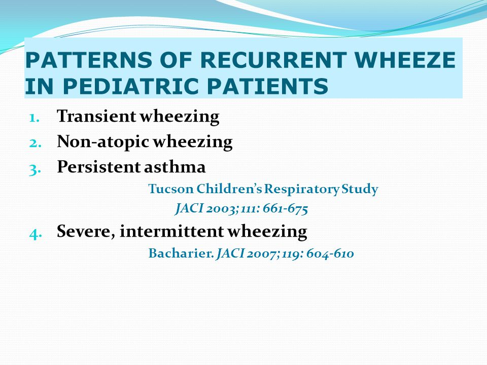 GINA ASTHMA GUIDELINES: (2002, 2006,2007) Reassess after 1 – 2 hours Good Response within 1-2 hours: Response sustained 60 minutes after last treatment PE normal: no distress PEF > 70% O2 saturation > 90% (95% in children) Incomplete Response within 1-2 hours: Risk Factors for near fatal asthma PE : mild to moderate signs PEF < 60% O2 saturation: NOT IMPROVING Poor Response within 1-2 hours: Risk factors fro near fatal asthma PE : symptoms severe, drowsiness, confusion PEF : < 30% PCO2 : > 45mmHg PO2: < 60mmHg ADMIT to ACUTE CARE Setting Oxygen Inhaled β2-agonist ± anticholinergic Systemic GCS Intravenous Magnesium Monitor PEF, O2 saturation, Pulse ADMIT to INTENSIVE Care Oxygen Inhaled β2- agonist+anticholinergic IV GCS Consider IV β2 agonist Consider IV theophylline Possible intubation mechanical ventilation Reassess at Intervals Poor Response: Admit to intensive Care Incomplete response in 6-12 hours Consider admission to Intensive Care If No improvement within hours Improved Improved: Criteria for Discharging Home PEF > 60% predicted / personal best Sustained on oral/inhaled medications HOME TREATMENT: Continue inhaled β2 agonist Consider in most cases, oral GCS Consider adding a combination inhaler Patient education: take medicine correctly review action plan close medical check up Management of Asthma Exacerbation in Acute Care Cont.