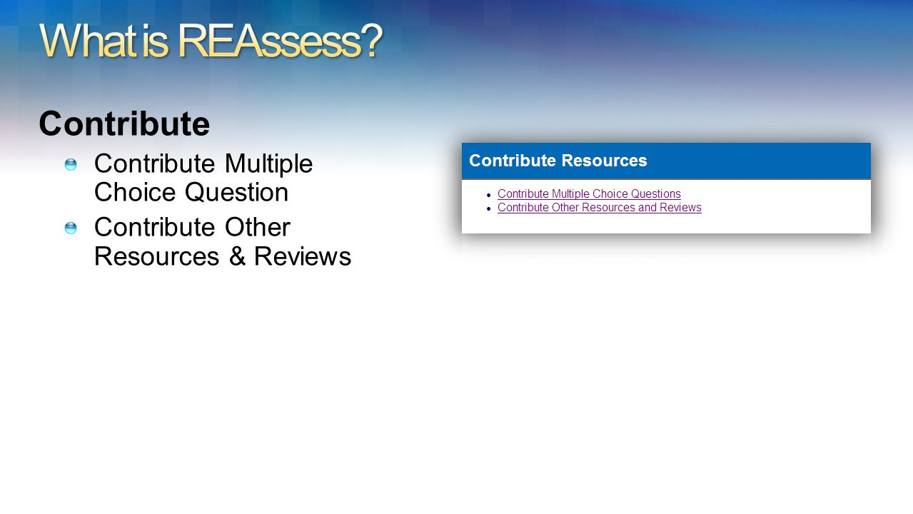 Contribute Contribute Multiple Choice Question Contribute Other Resources & Reviews