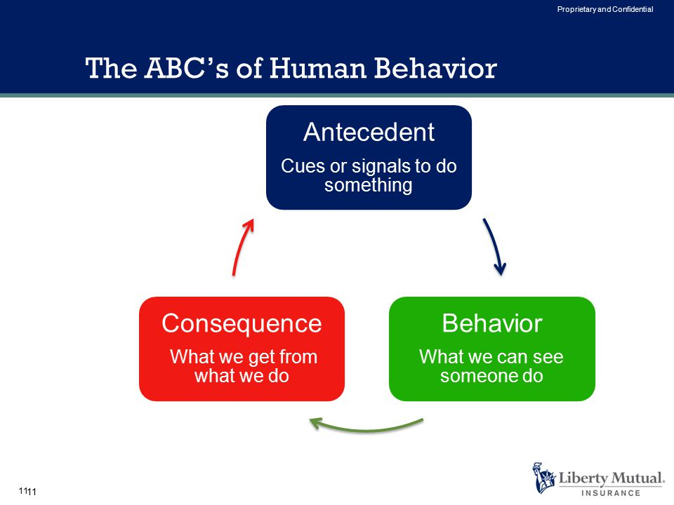 11 Proprietary and Confidential The ABC's of Human Behavior Antecedent Cues or signals to do something Behavior What we can see someone do Consequence What we get from what we do 11