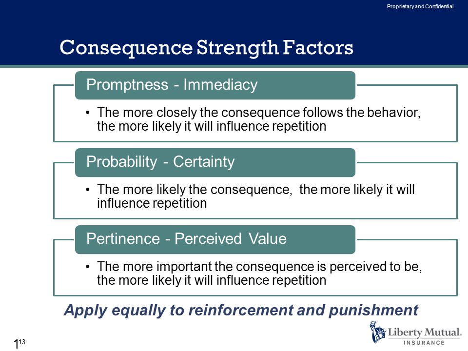 13 Proprietary and Confidential Consequence Strength Factors The more closely the consequence follows the behavior, the more likely it will influence repetition Promptness - Immediacy The more likely the consequence, the more likely it will influence repetition Probability - Certainty The more important the consequence is perceived to be, the more likely it will influence repetition Pertinence - Perceived Value 13 Apply equally to reinforcement and punishment