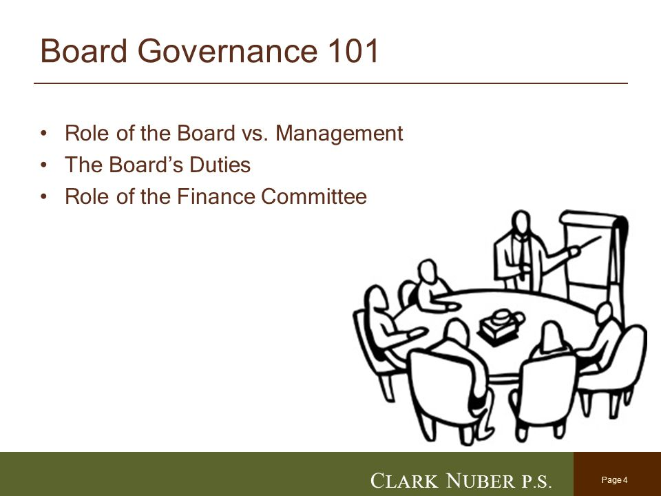 Page 4 C LARK N UBER P. S. Board Governance 101 Role of the Board vs. Management The Board's Duties Role of the Finance Committee