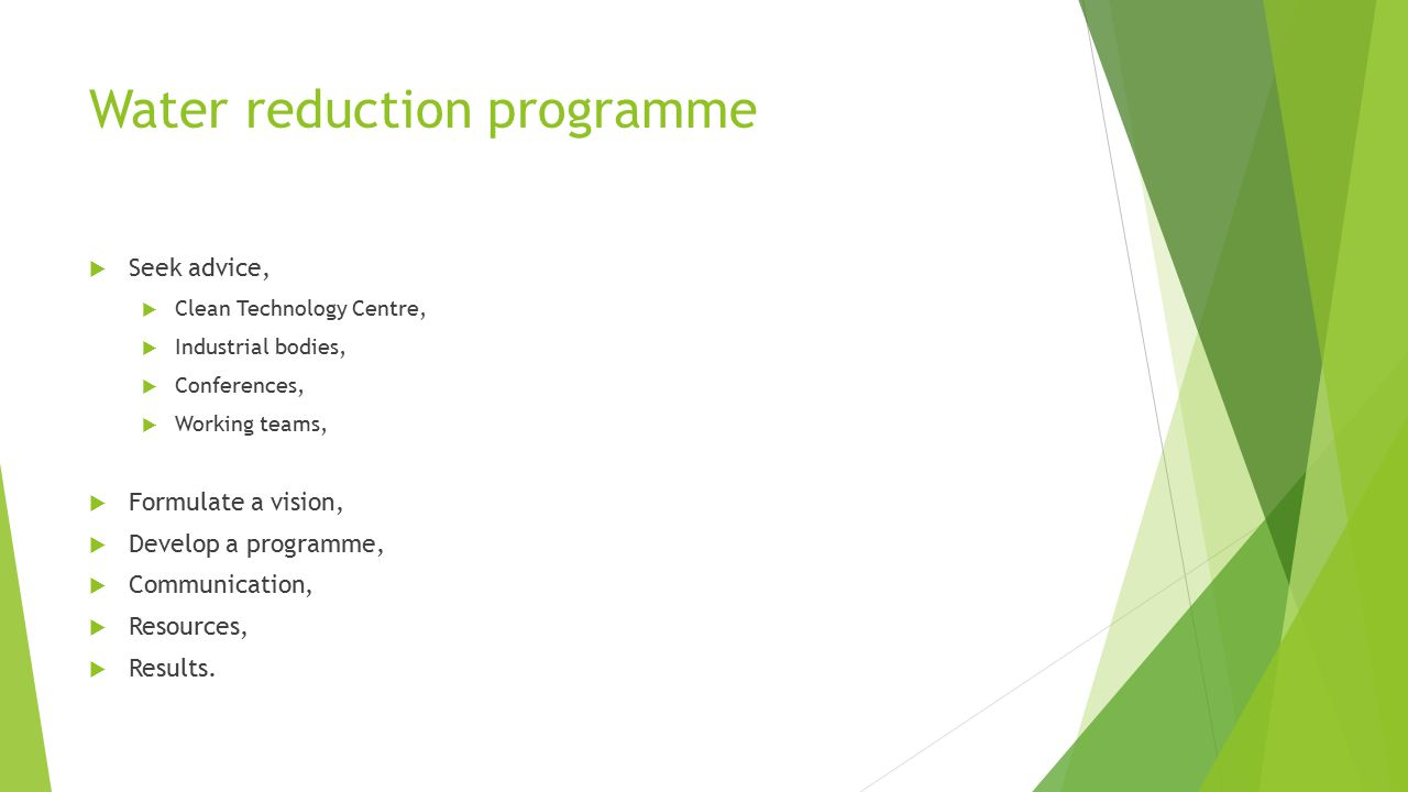 Water reduction programme  Seek advice,  Clean Technology Centre,  Industrial bodies,  Conferences,  Working teams,  Formulate a vision,  Develop a programme,  Communication,  Resources,  Results.