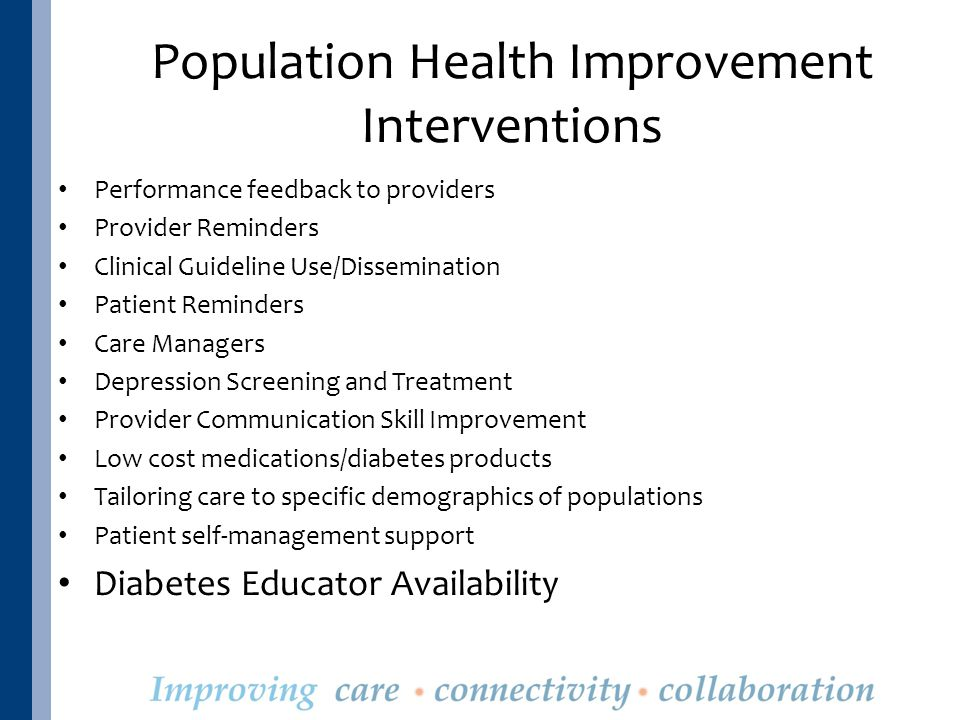 Population Health Improvement Interventions Performance feedback to providers Provider Reminders Clinical Guideline Use/Dissemination Patient Reminders Care Managers Depression Screening and Treatment Provider Communication Skill Improvement Low cost medications/diabetes products Tailoring care to specific demographics of populations Patient self-management support Diabetes Educator Availability
