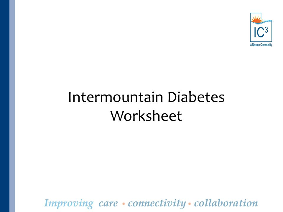 Intermountain Diabetes Worksheet