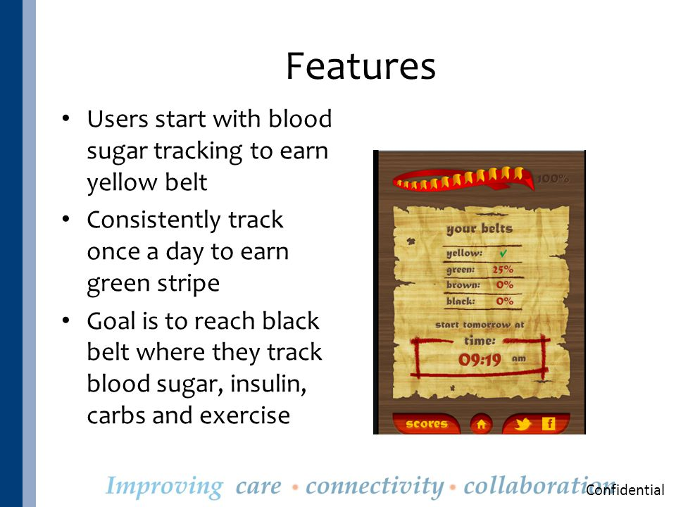 Features Users start with blood sugar tracking to earn yellow belt Consistently track once a day to earn green stripe Goal is to reach black belt where they track blood sugar, insulin, carbs and exercise Confidential