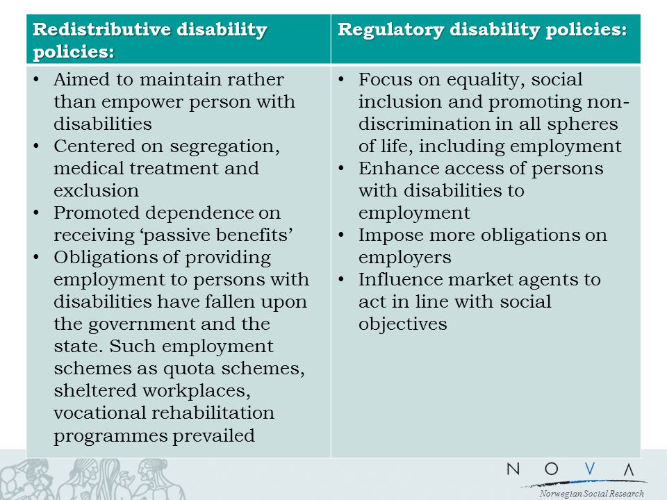 Norwegian Social Research Redistributive disability policies: Regulatory disability policies: Aimed to maintain rather than empower person with disabi