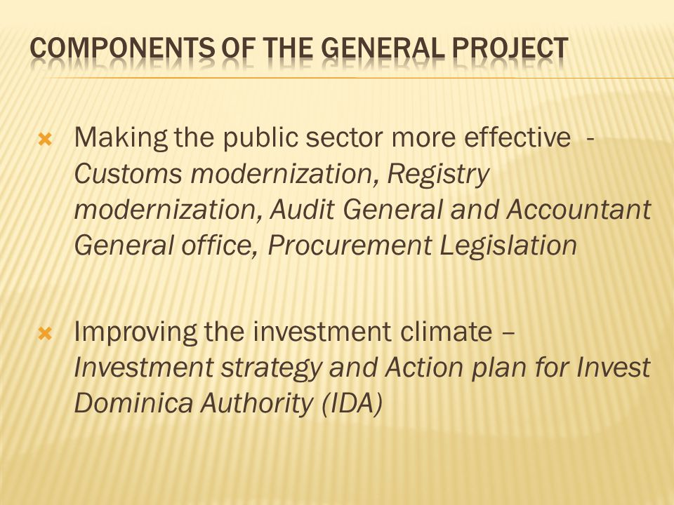  Making the public sector more effective - Customs modernization, Registry modernization, Audit General and Accountant General office, Procurement Legislation  Improving the investment climate – Investment strategy and Action plan for Invest Dominica Authority (IDA)