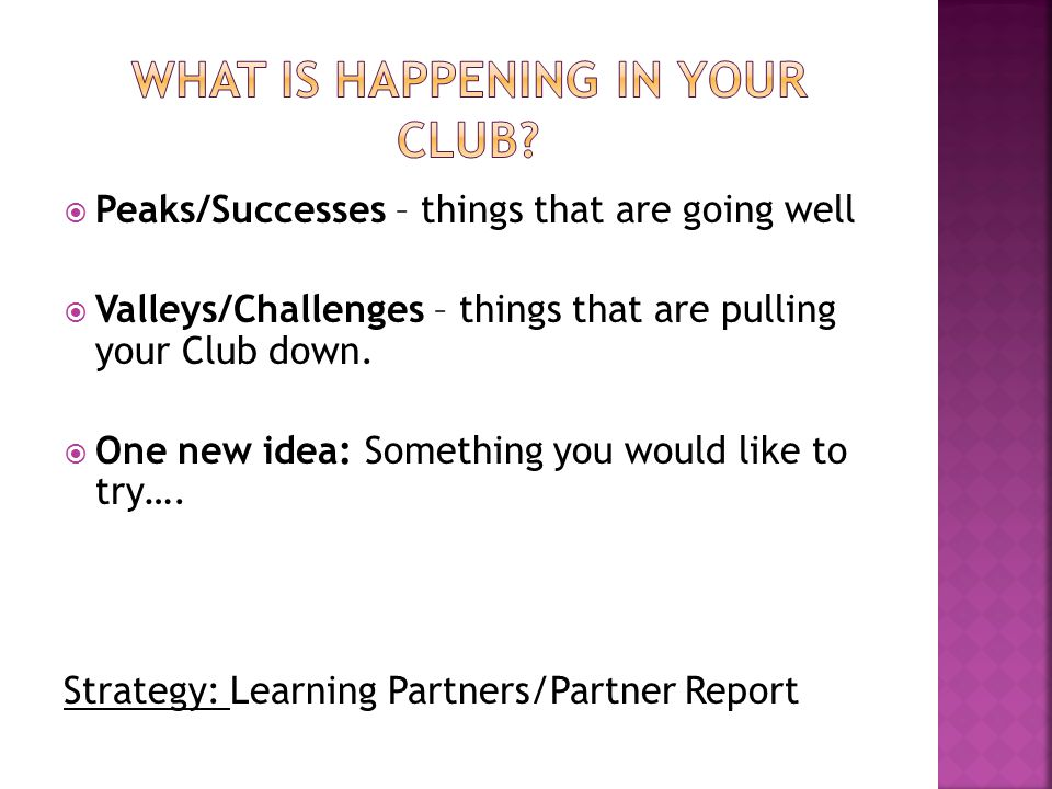  Peaks/Successes – things that are going well  Valleys/Challenges – things that are pulling your Club down.