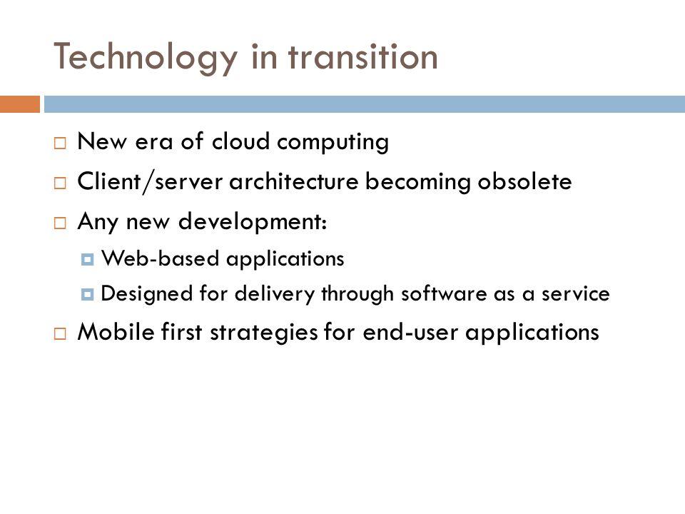 Fundamental technology shift  Mainframe computing  Client/Server  Cloud Computing http://www.flickr.com/photos/carrick/61952845/ http://soacloudcomputing.blogspot.com/2008/10/cloud-computing.html http://www.javaworld.com/javaworld/jw-10-2001/jw-1019-jxta.html