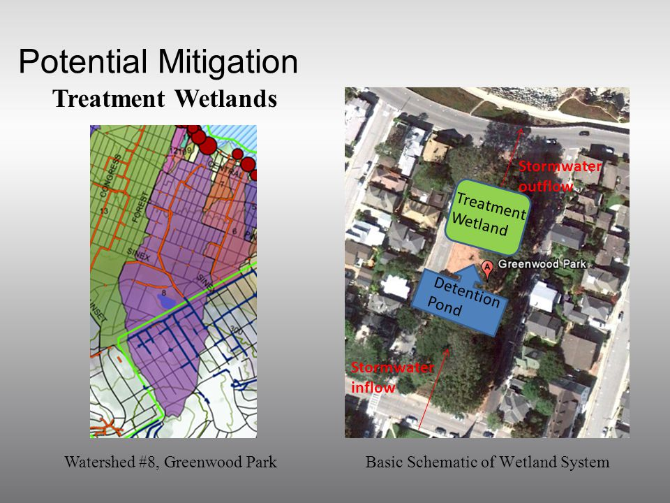 Potential Mitigation Treatment Wetlands Stormwater inflow Stormwater outflow Treatment Wetland Detention Pond Basic Schematic of Wetland SystemWatershed #8, Greenwood Park