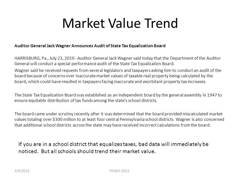 Market Value Trend Auditor General Jack Wagner Announces Audit of State Tax Equalization Board HARRISBURG, Pa., July 23, 2010 - Auditor General Jack W