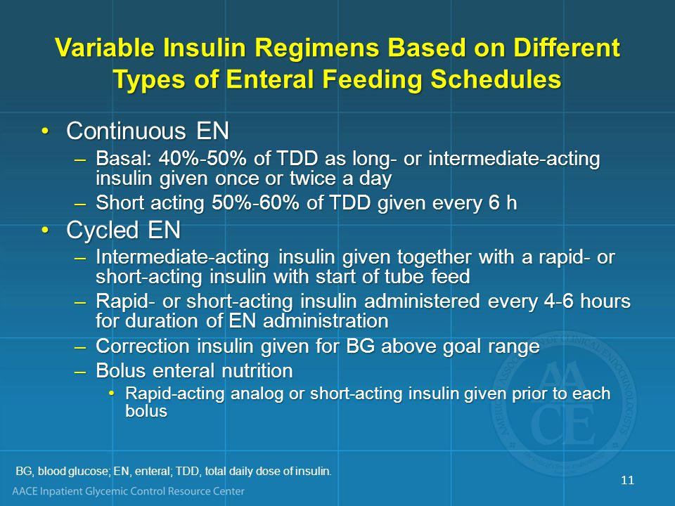 Variable Insulin Regimens Based on Different Types of Enteral Feeding Schedules Continuous ENContinuous EN –Basal: 40%-50% of TDD as long- or intermed