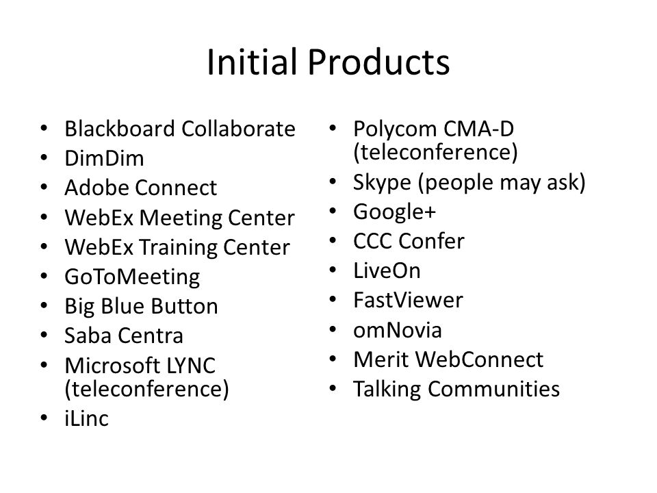 Initial Products Blackboard Collaborate DimDim Adobe Connect WebEx Meeting Center WebEx Training Center GoToMeeting Big Blue Button Saba Centra Micros
