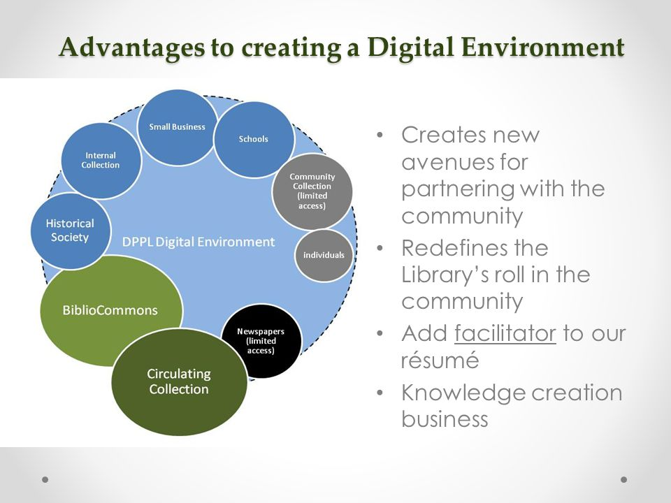 Advantages to creating a Digital Environment Creates new avenues for partnering with the community Redefines the Library's roll in the community Add facilitator to our résumé Knowledge creation business