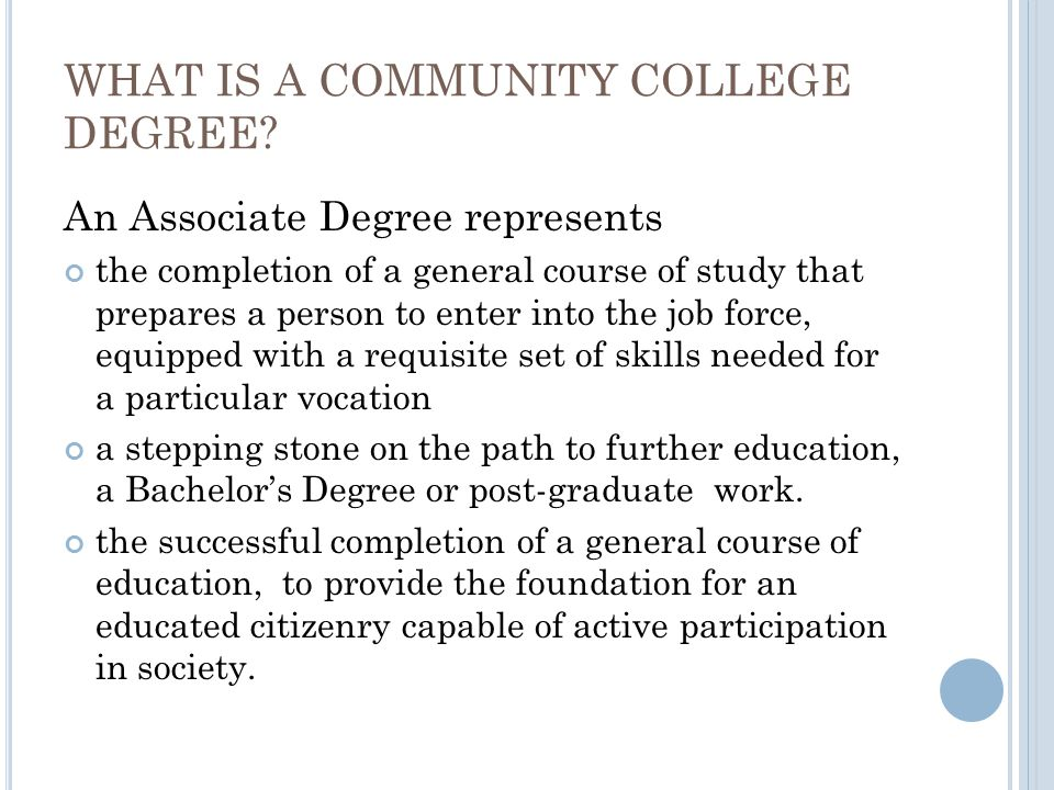 WHAT IS A COMMUNITY COLLEGE DEGREE.