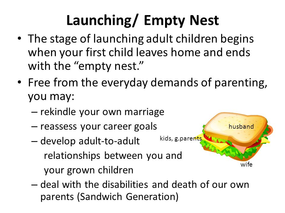 "Launching/ Empty Nest The stage of launching adult children begins when your first child leaves home and ends with the ""empty nest."" Free from the eve"