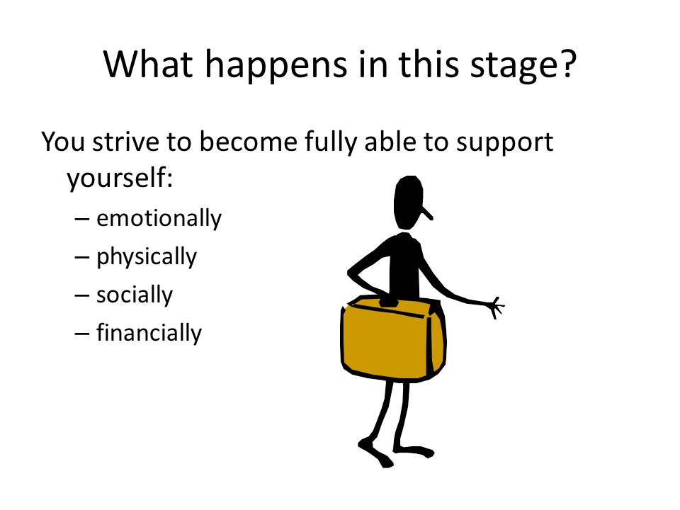 What happens in this stage? You strive to become fully able to support yourself: – emotionally – physically – socially – financially