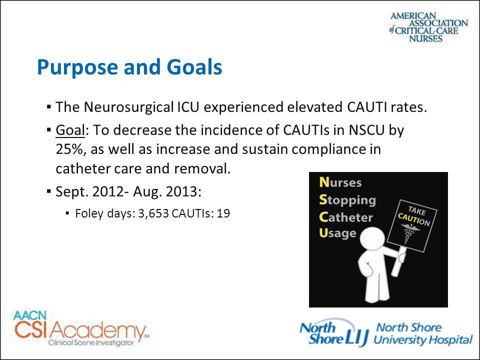 Purpose and Goals ▪The Neurosurgical ICU experienced elevated CAUTI rates.