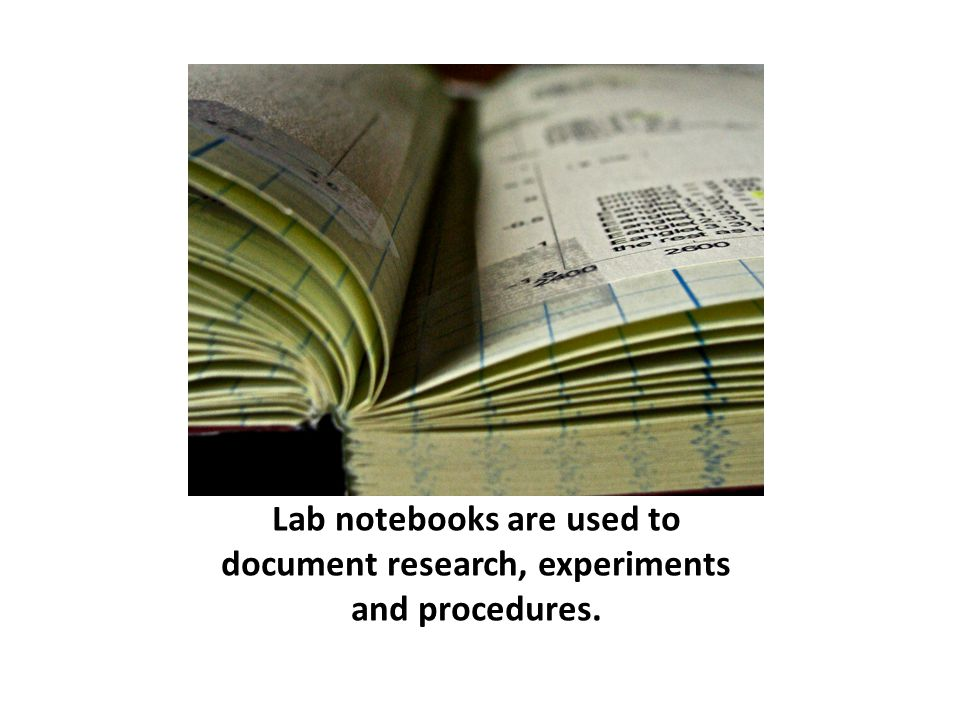 Lab notebooks are used to document research, experiments and procedures. By Julia Manzerova