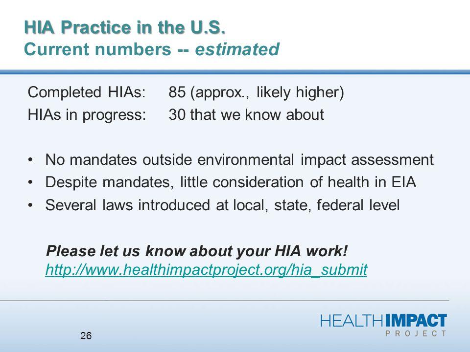 HIA Practice in the U.S. HIA Practice in the U.S.