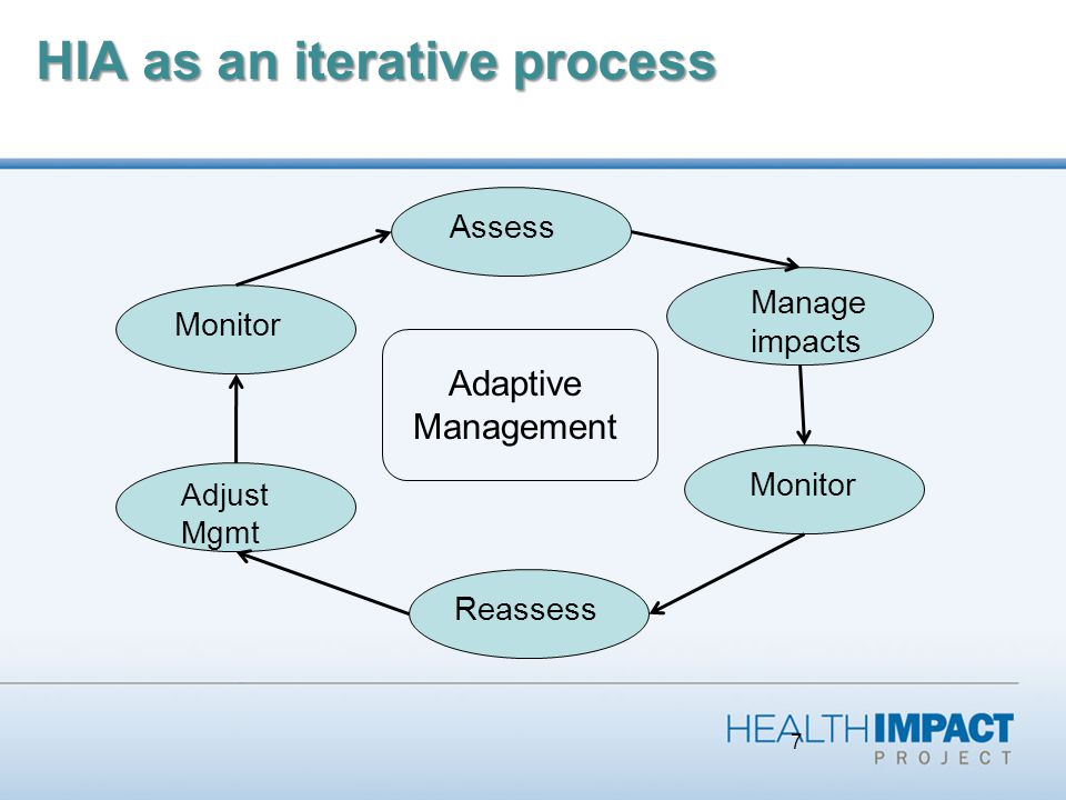 7 HIA as an iterative process Assess Manage impacts Monitor Reassess Monitor Adjust Mgmt Adaptive Management