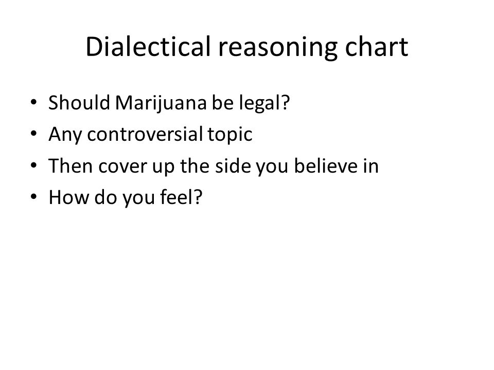 Dialectical reasoning chart Should Marijuana be legal.