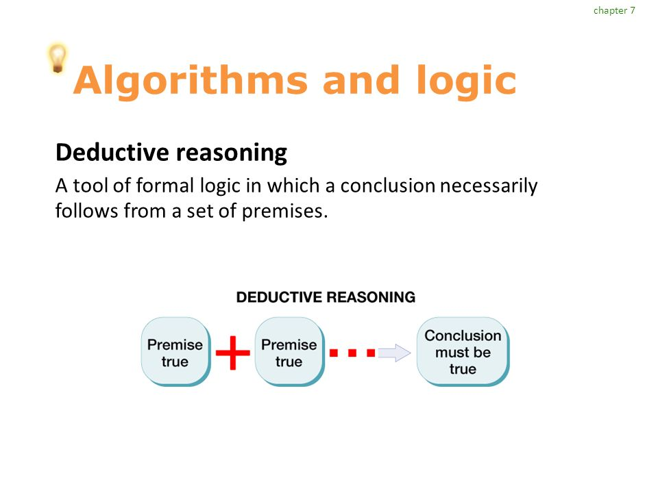 Algorithms and logic Deductive reasoning A tool of formal logic in which a conclusion necessarily follows from a set of premises.