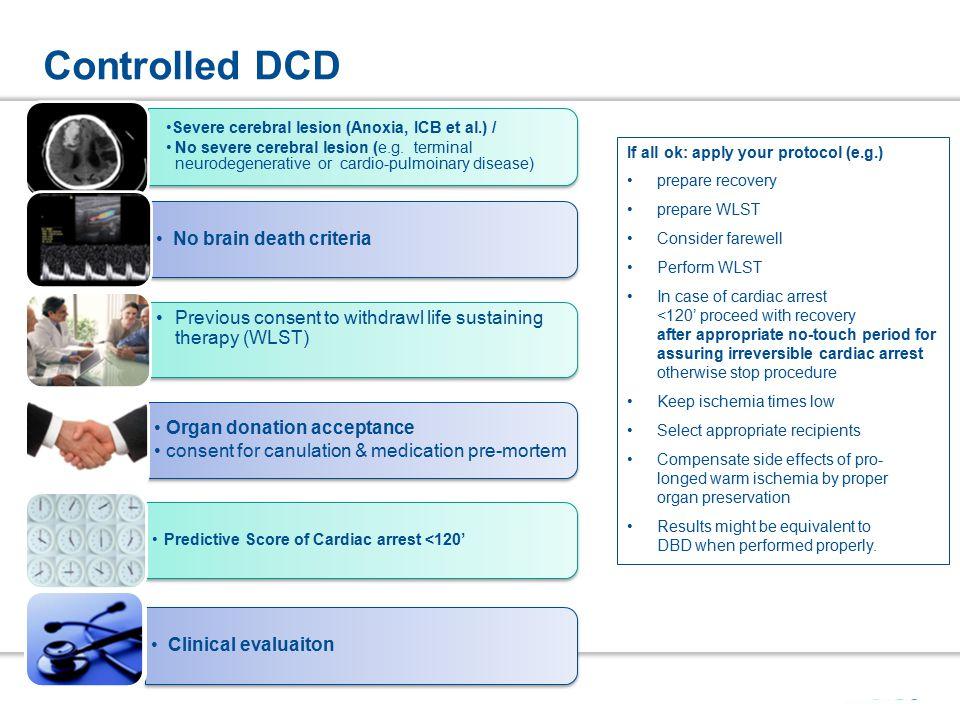 Controlled DCD Severe cerebral lesion (Anoxia, ICB et al.) / No severe cerebral lesion (e.g.