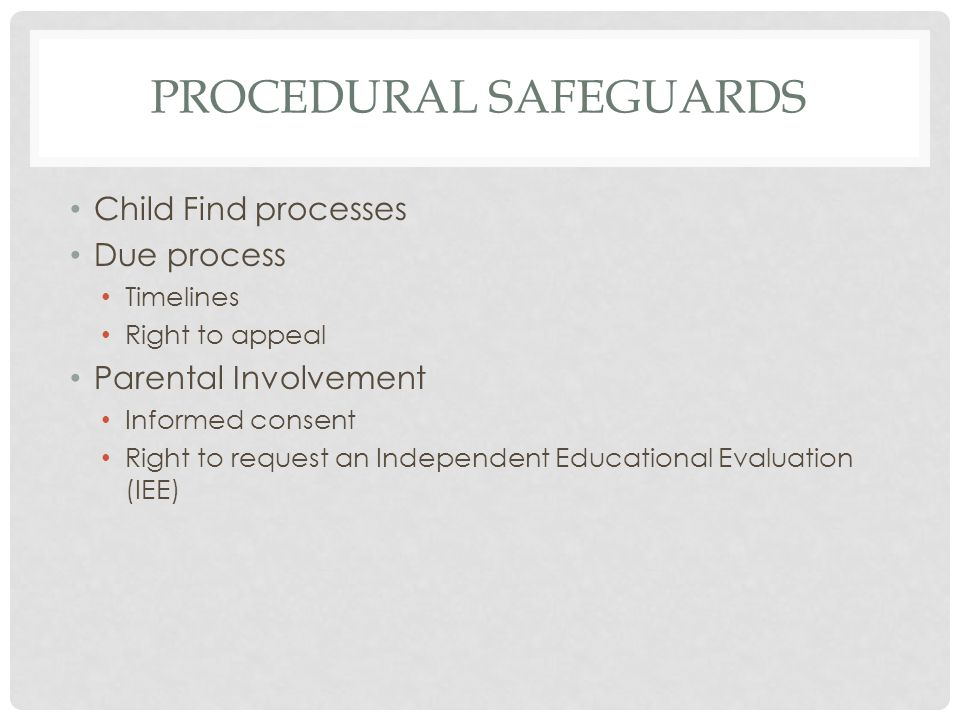 PROCEDURAL SAFEGUARDS Child Find processes Due process Timelines Right to appeal Parental Involvement Informed consent Right to request an Independent