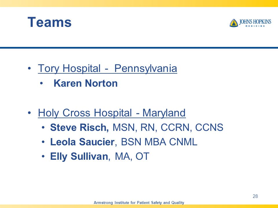 Teams Tory Hospital - Pennsylvania Karen Norton Holy Cross Hospital - Maryland Steve Risch, MSN, RN, CCRN, CCNS Leola Saucier, BSN MBA CNML Elly Sulli