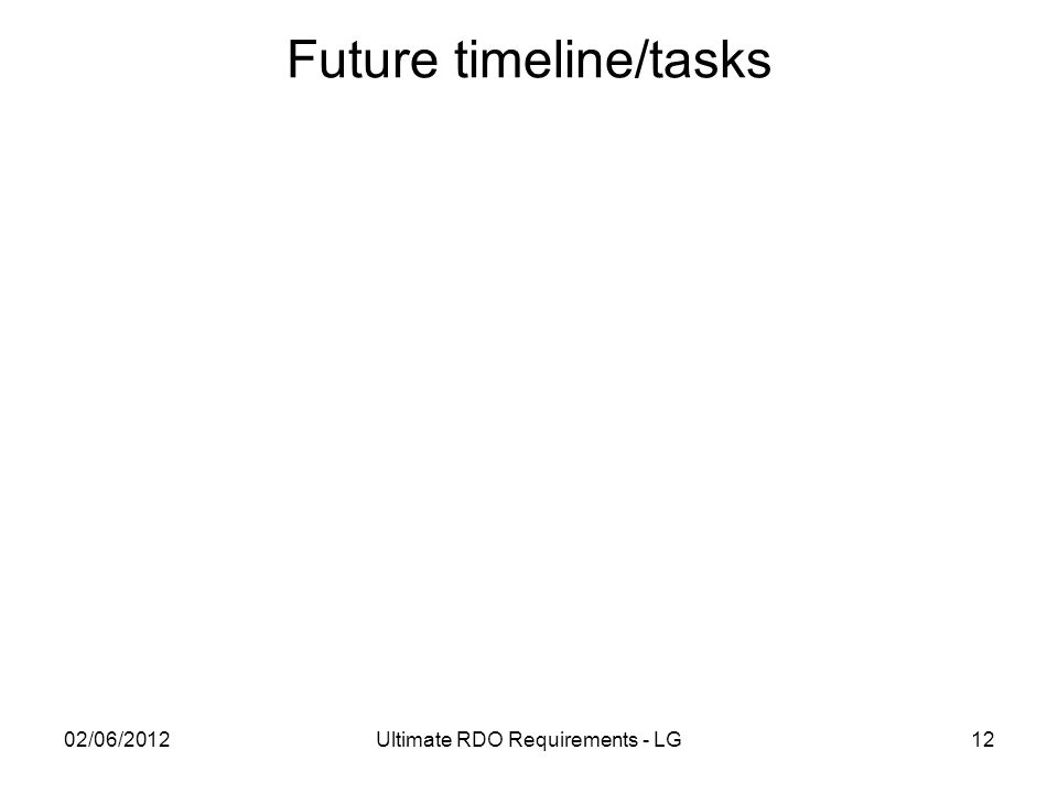 Future timeline/tasks 02/06/2012Ultimate RDO Requirements - LG12