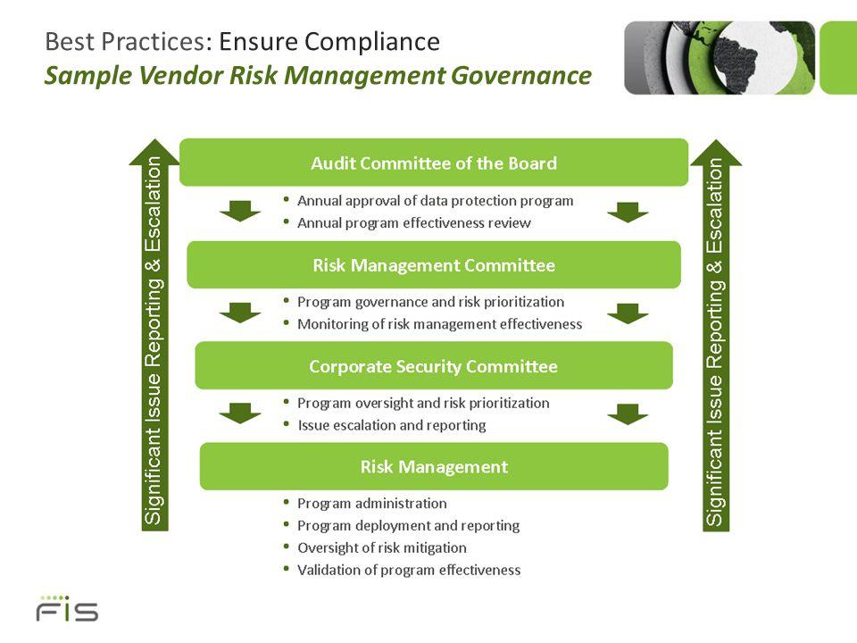 Best Practices: Ensure Compliance Sample Vendor Risk Management Governance